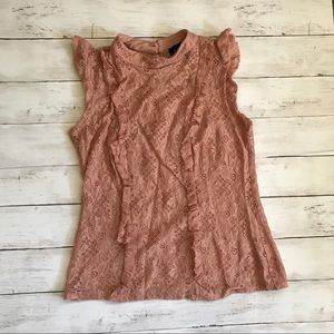 AUW size small pink ruffle tank top gorgeous